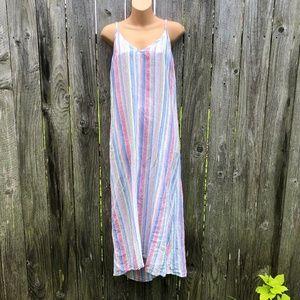 C&C California Pastel Striped Linen Maxi Dress LNC